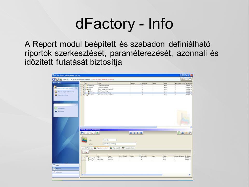 dFactory - Info A Report modul beépített és szabadon definiálható riportok szerkesztését, paraméterezését, azonnali és időzített futatását biztosítja.