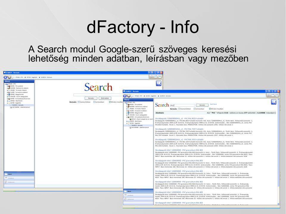dFactory - Info A Search modul Google-szerű szöveges keresési lehetőség minden adatban, leírásban vagy mezőben.