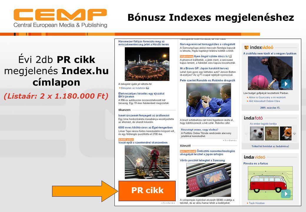 Évi 2db PR cikk megjelenés Index.hu címlapon