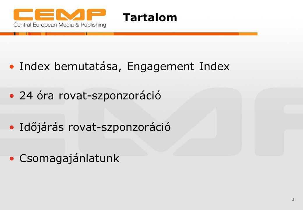 Index bemutatása, Engagement Index 24 óra rovat-szponzoráció