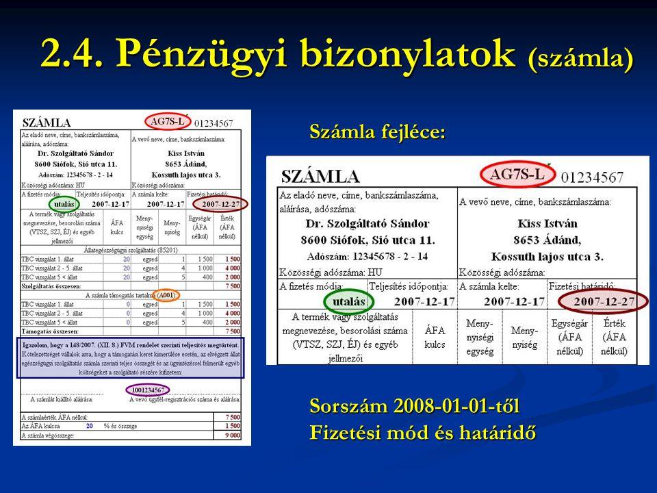 2.4. Pénzügyi bizonylatok (számla)