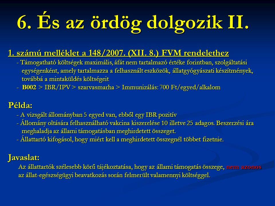 6. És az ördög dolgozik II. 1. számú melléklet a 148/2007. (XII. 8.) FVM rendelethez.