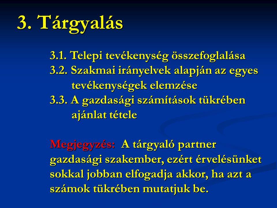 3. Tárgyalás 3.1. Telepi tevékenység összefoglalása