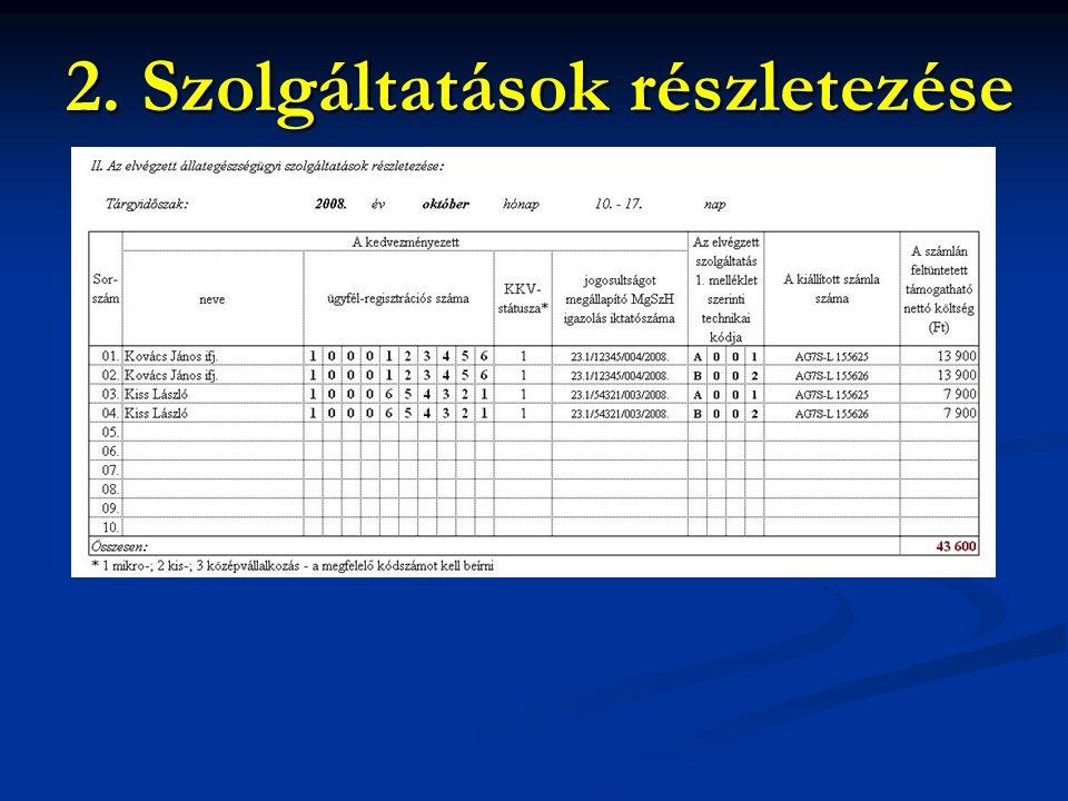 2. Szolgáltatások részletezése