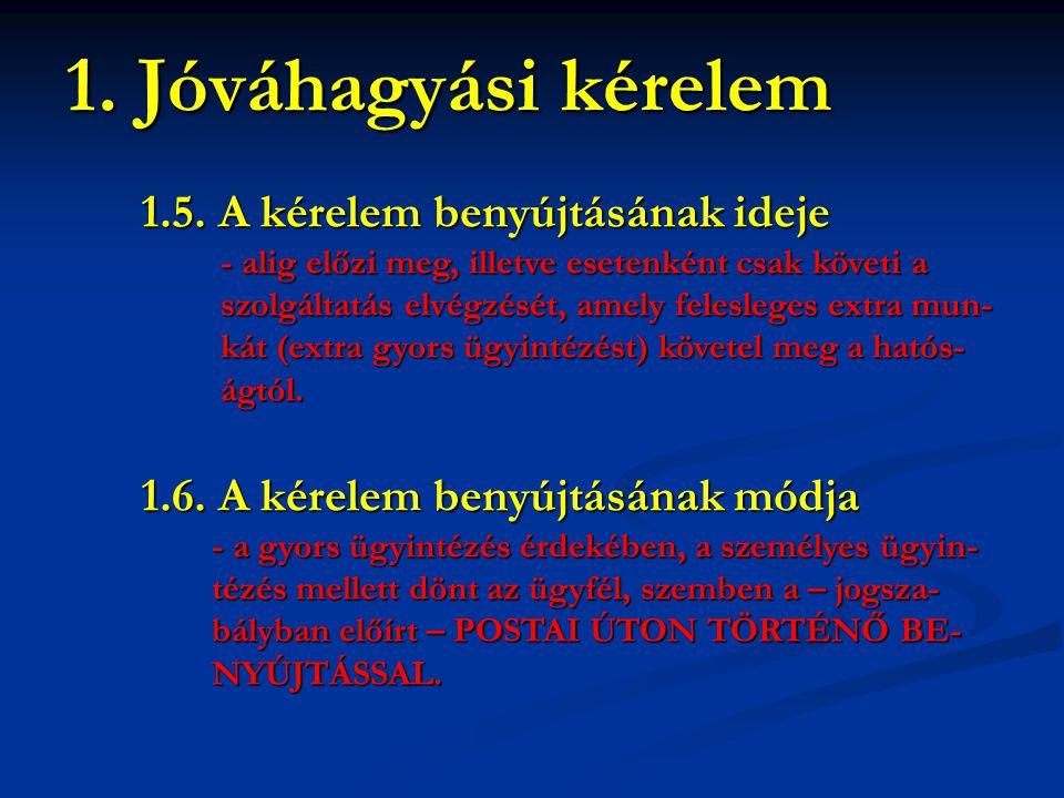 1. Jóváhagyási kérelem 1.5. A kérelem benyújtásának ideje