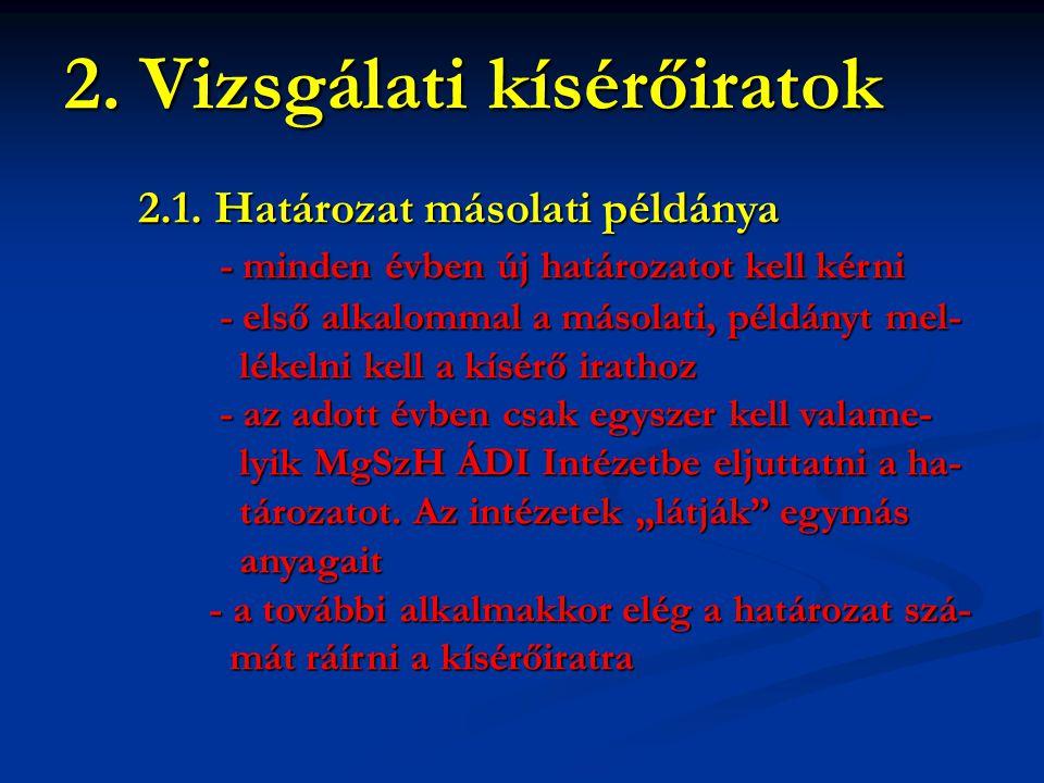 2. Vizsgálati kísérőiratok