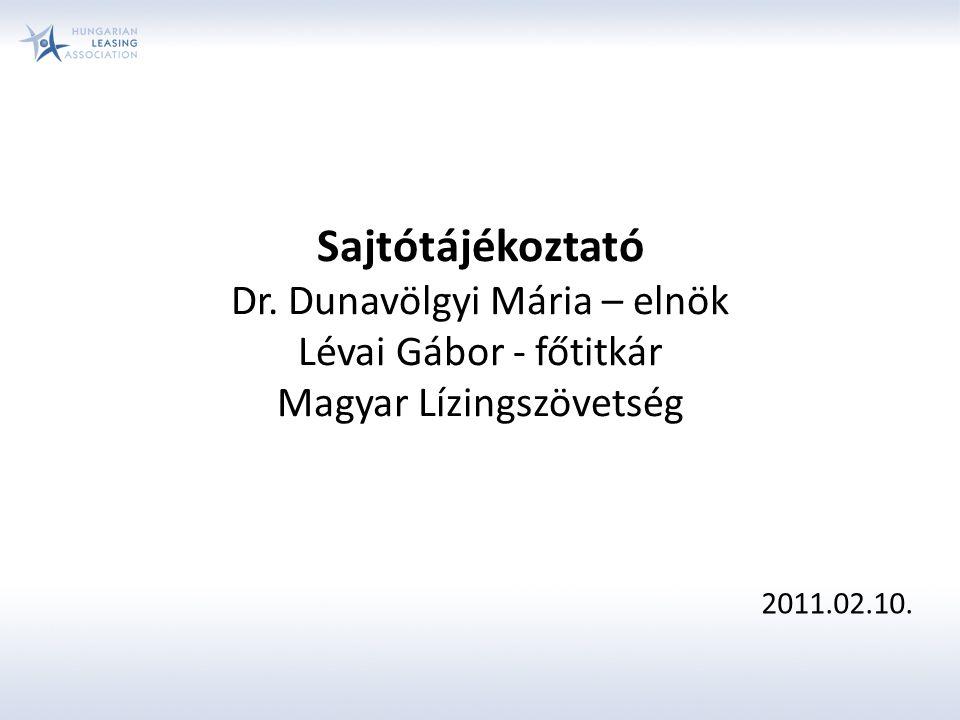 Sajtótájékoztató Dr. Dunavölgyi Mária – elnök Lévai Gábor - főtitkár Magyar Lízingszövetség