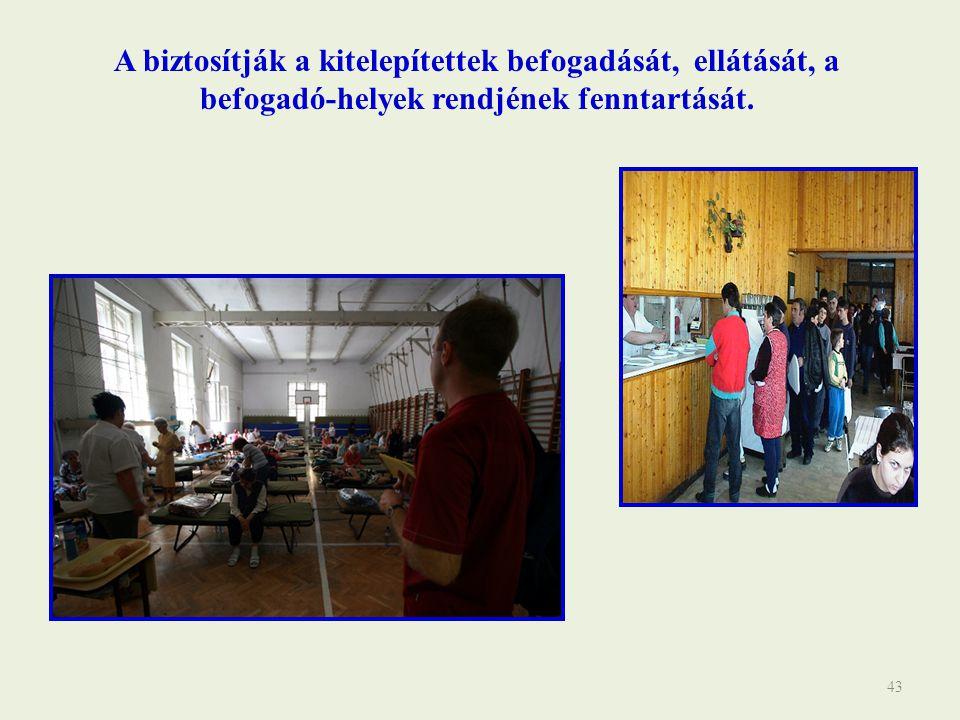 A biztosítják a kitelepítettek befogadását, ellátását, a befogadó-helyek rendjének fenntartását.