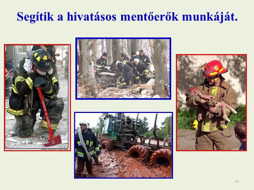 Segítik a hivatásos mentőerők munkáját.