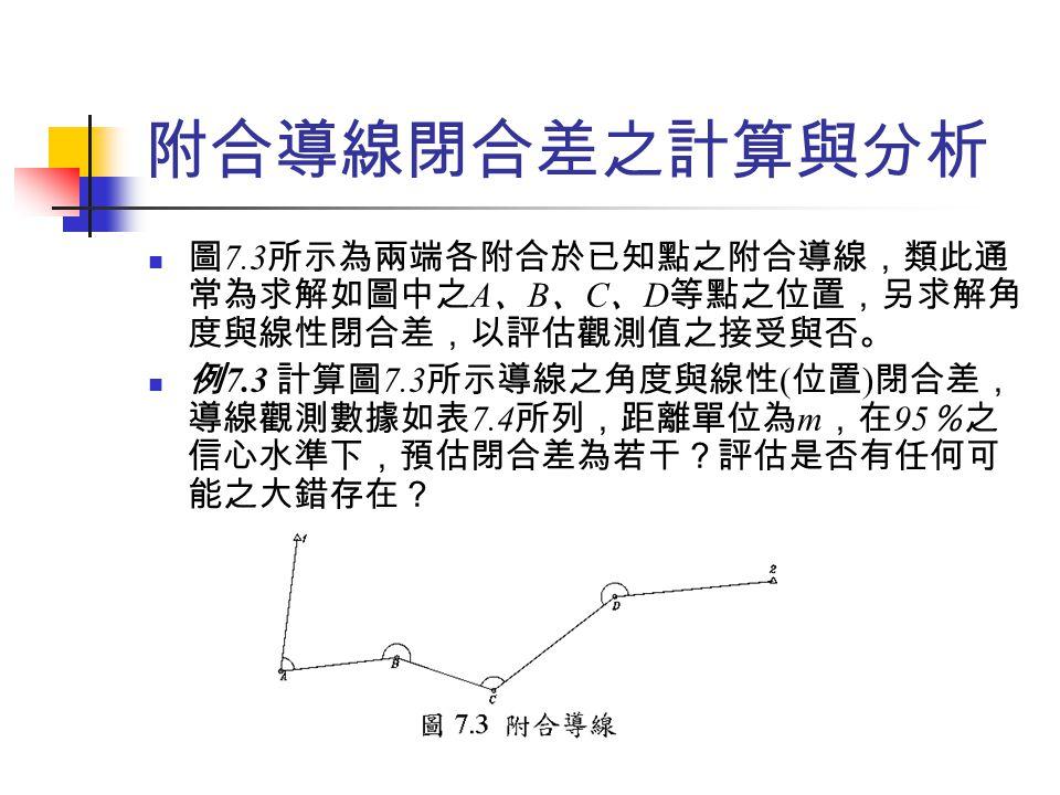 附合導線閉合差之計算與分析 圖7.3所示為兩端各附合於已知點之附合導線,類此通常為求解如圖中之A、B、C、D等點之位置,另求解角度與線性閉合差,以評估觀測值之接受與否。
