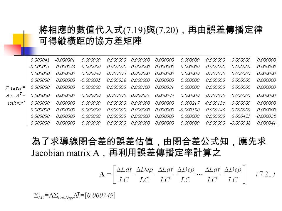 將相應的數值代入式(7.19)與(7.20),再由誤差傳播定律可得縱橫距的協方差矩陣