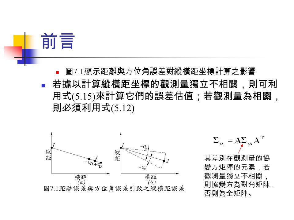 前言 若據以計算縱橫距坐標的觀測量獨立不相關,則可利用式(5.15)來計算它們的誤差估值;若觀測量為相關,則必須利用式(5.12)