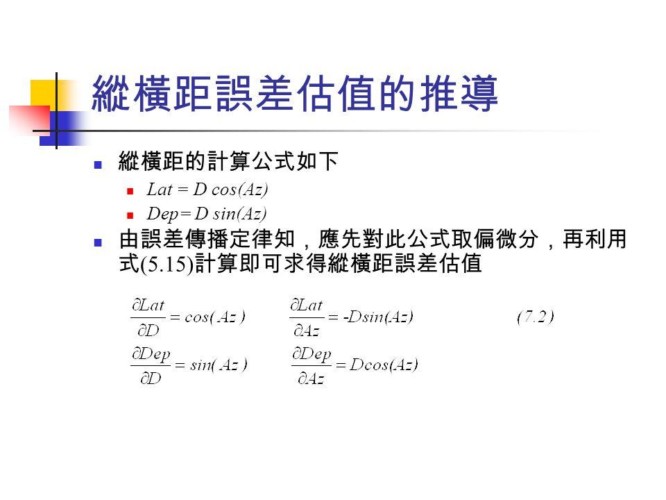 縱橫距誤差估值的推導 縱橫距的計算公式如下 由誤差傳播定律知,應先對此公式取偏微分,再利用式(5.15)計算即可求得縱橫距誤差估值