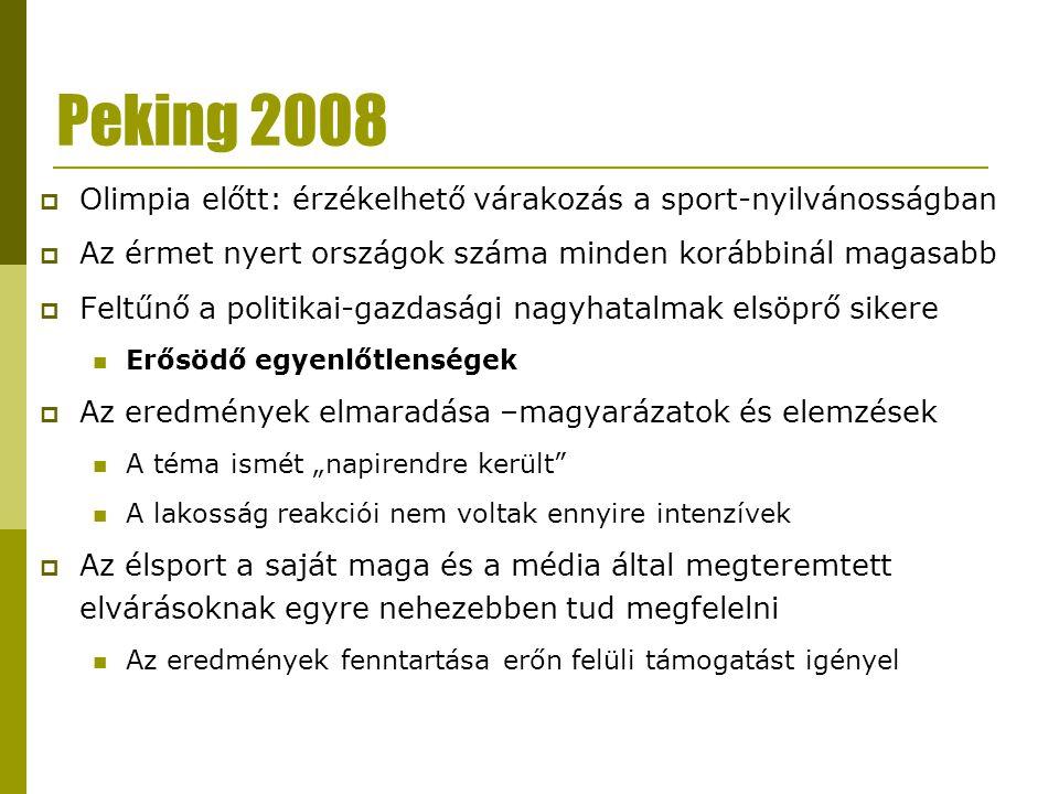 Peking 2008 Olimpia előtt: érzékelhető várakozás a sport-nyilvánosságban. Az érmet nyert országok száma minden korábbinál magasabb.