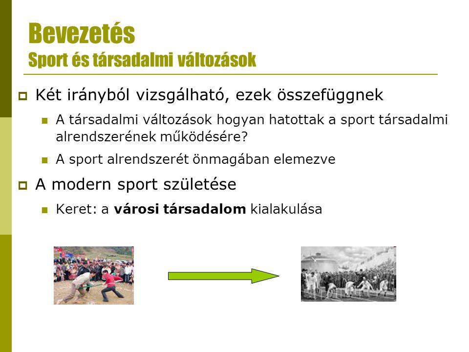 Bevezetés Sport és társadalmi változások