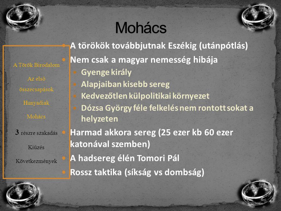 Mohács A törökök továbbjutnak Eszékig (utánpótlás)