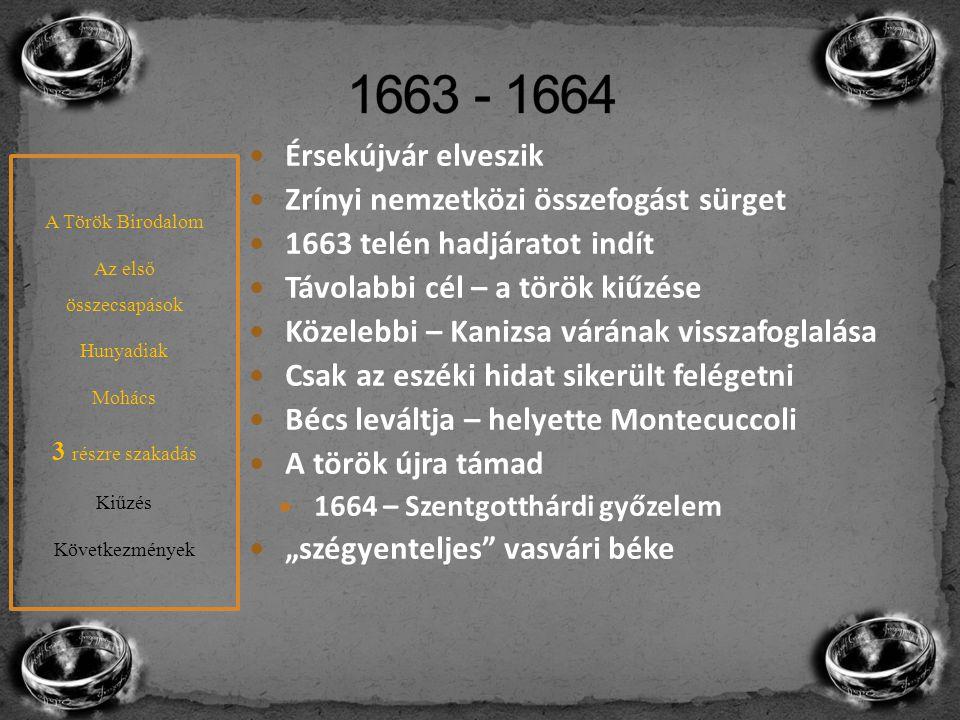 1663 - 1664 Érsekújvár elveszik Zrínyi nemzetközi összefogást sürget