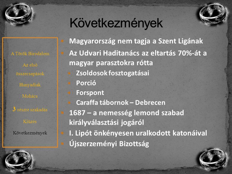 Következmények Magyarország nem tagja a Szent Ligának