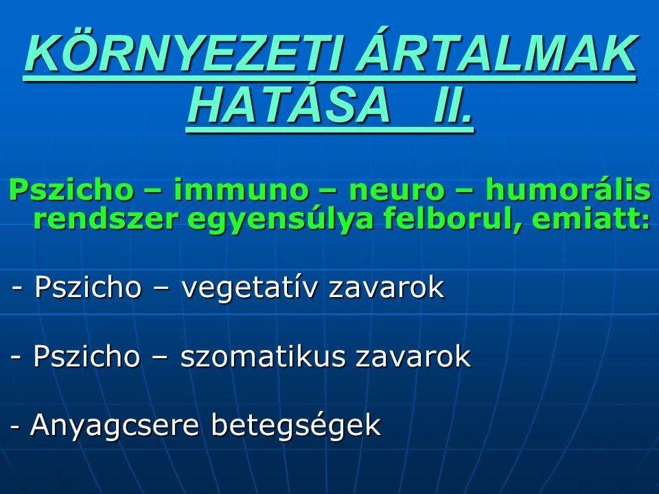 KÖRNYEZETI ÁRTALMAK HATÁSA II.