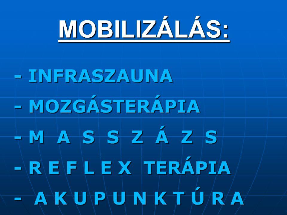 MOBILIZÁLÁS: - INFRASZAUNA - MOZGÁSTERÁPIA - M A S S Z Á Z S