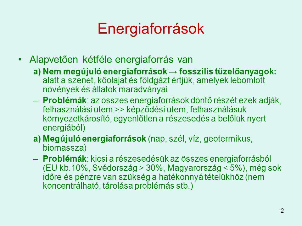 Energiaforrások Alapvetően kétféle energiaforrás van