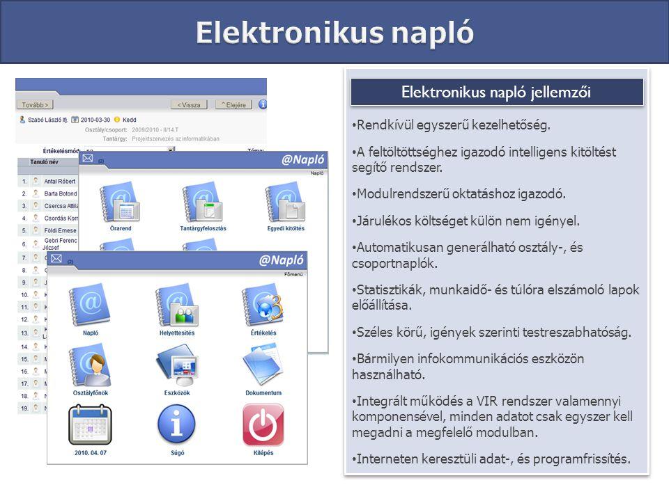 Elektronikus napló jellemzői