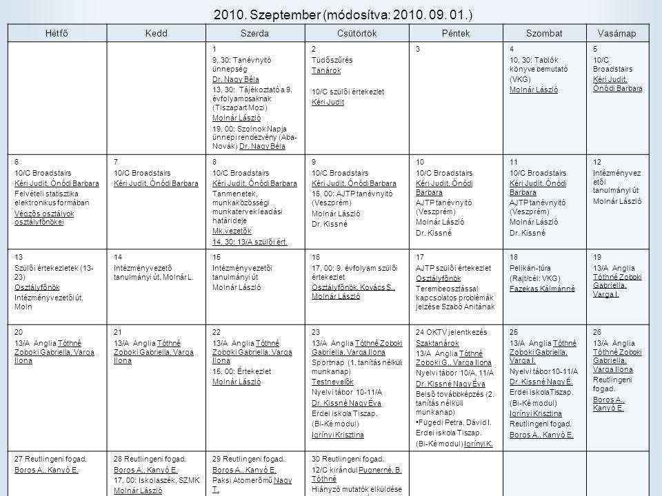 2010. Szeptember (módosítva: 2010. 09. 01.)