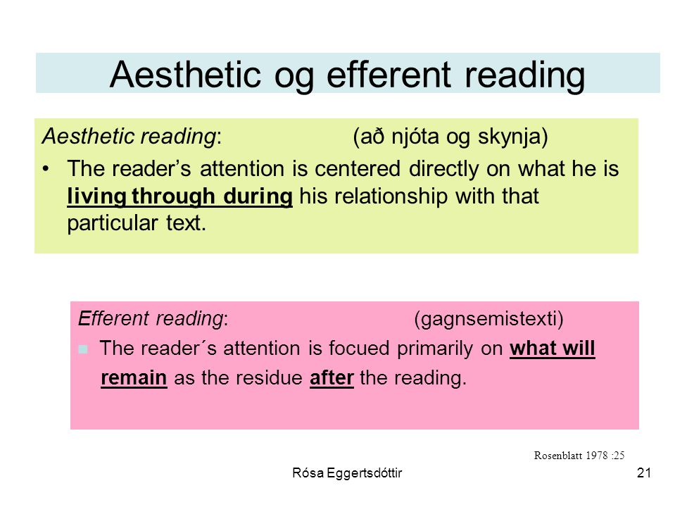 Aesthetic og efferent reading