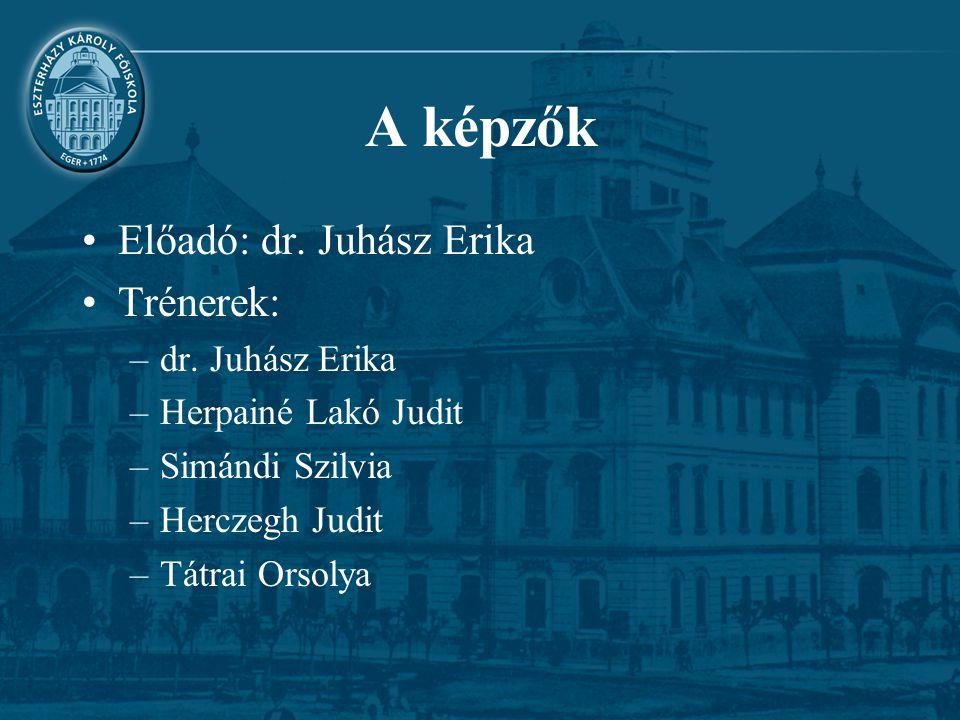A képzők Előadó: dr. Juhász Erika Trénerek: dr. Juhász Erika