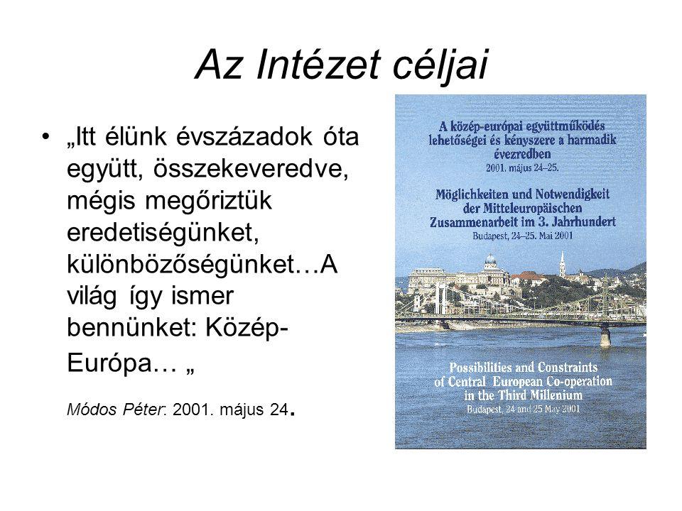 Az Intézet céljai Módos Péter: 2001. május 24.
