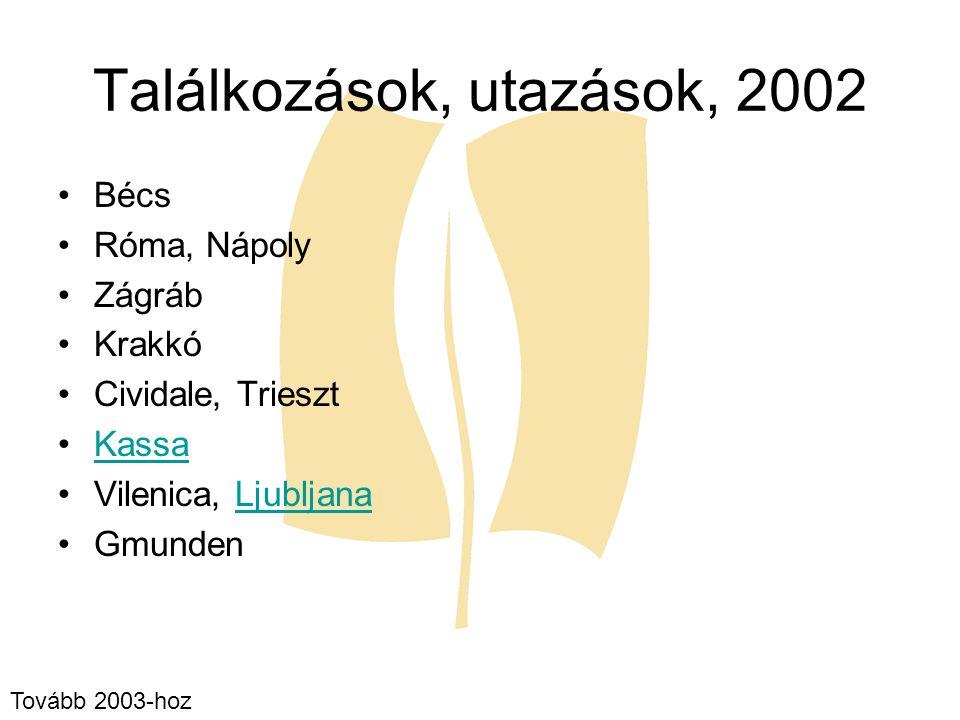 Találkozások, utazások, 2002