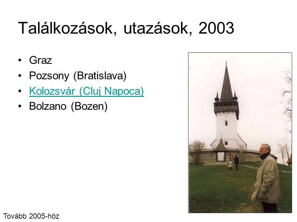 Találkozások, utazások, 2003