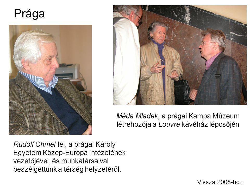 Prága Méda Mladek, a prágai Kampa Múzeum létrehozója a Louvre kávéház lépcsőjén.