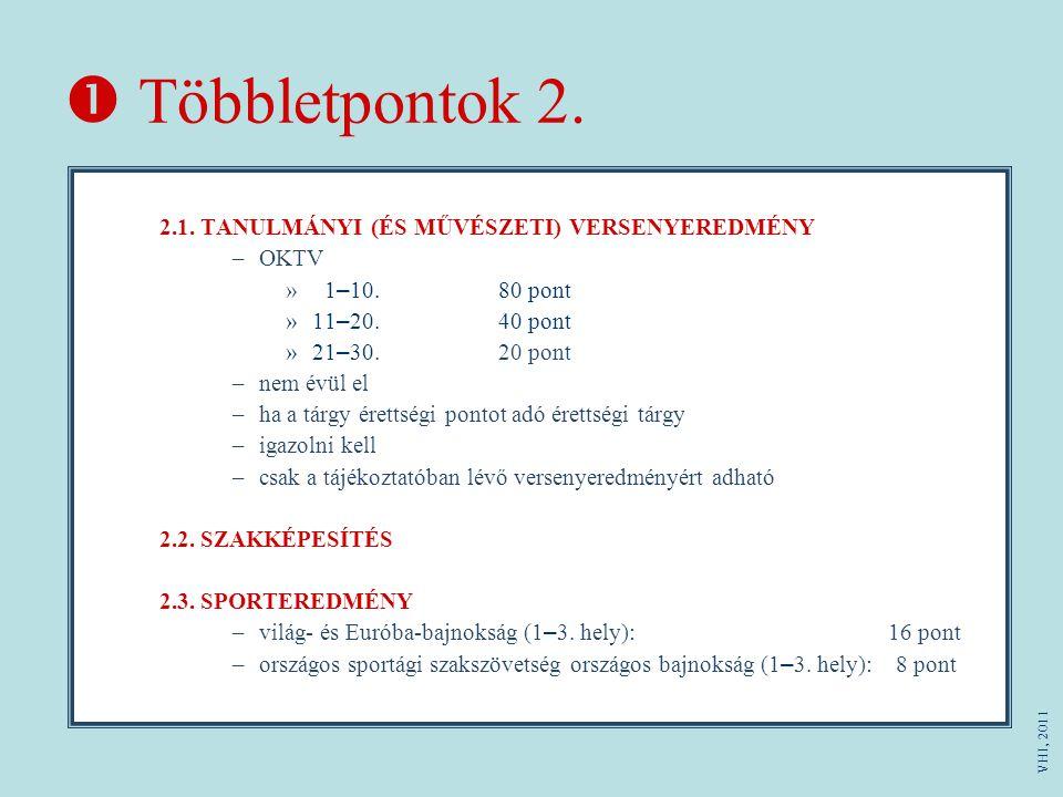  Többletpontok 2. OKTV 1–10. 80 pont 11–20. 40 pont 21–30. 20 pont
