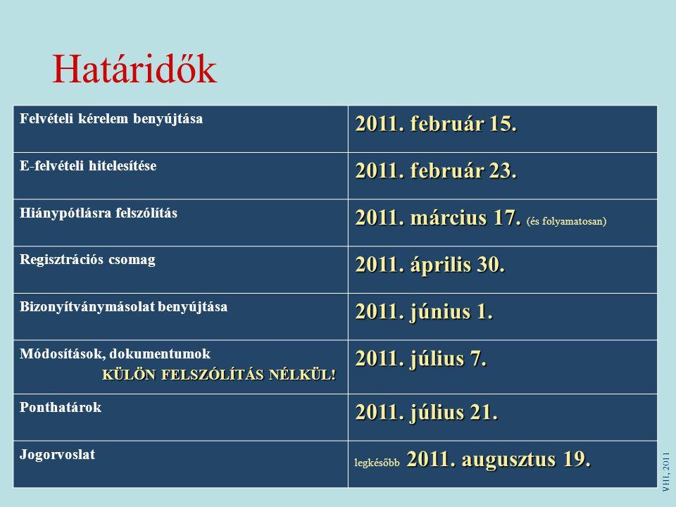 Határidők 2011. február 15. 2011. február 23.