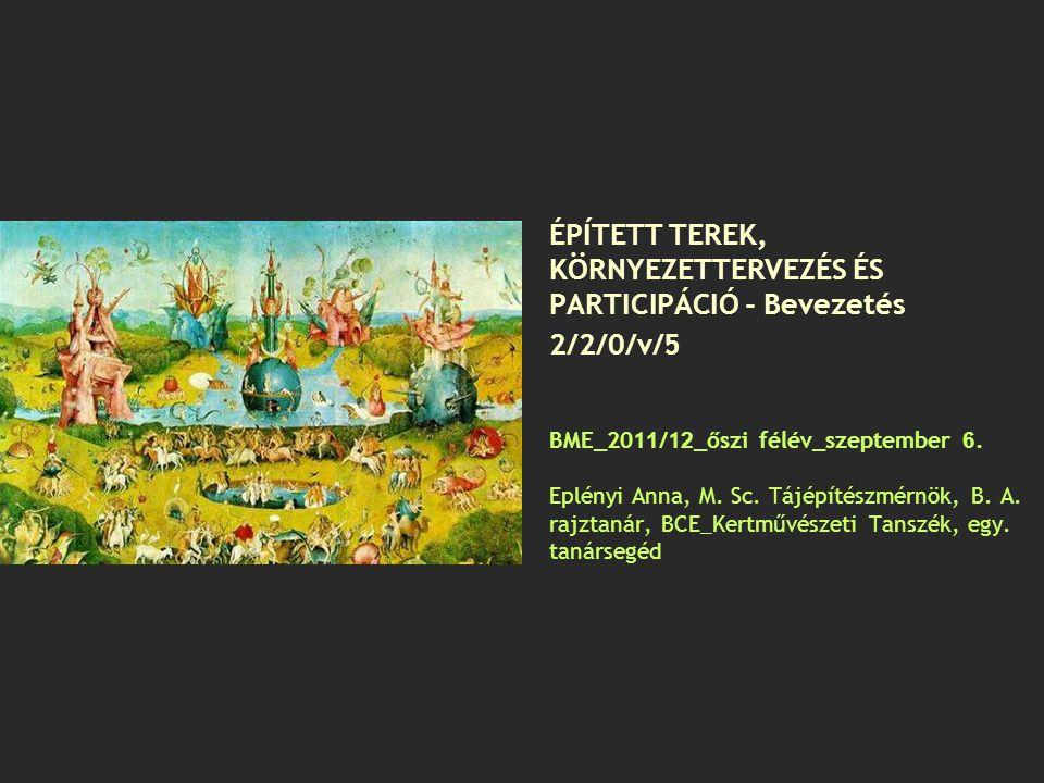 ÉPÍTETT TEREK, KÖRNYEZETTERVEZÉS ÉS PARTICIPÁCIÓ - Bevezetés 2/2/0/v/5 BME_2011/12_őszi félév_szeptember 6.