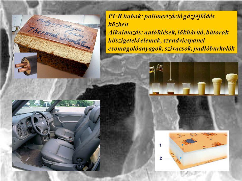 PUR habok: polimerizáció gázfejlődés közben