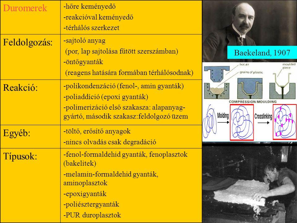 Duromerek Feldolgozás: Reakció: Egyéb: Típusok: Baekeland, 1907
