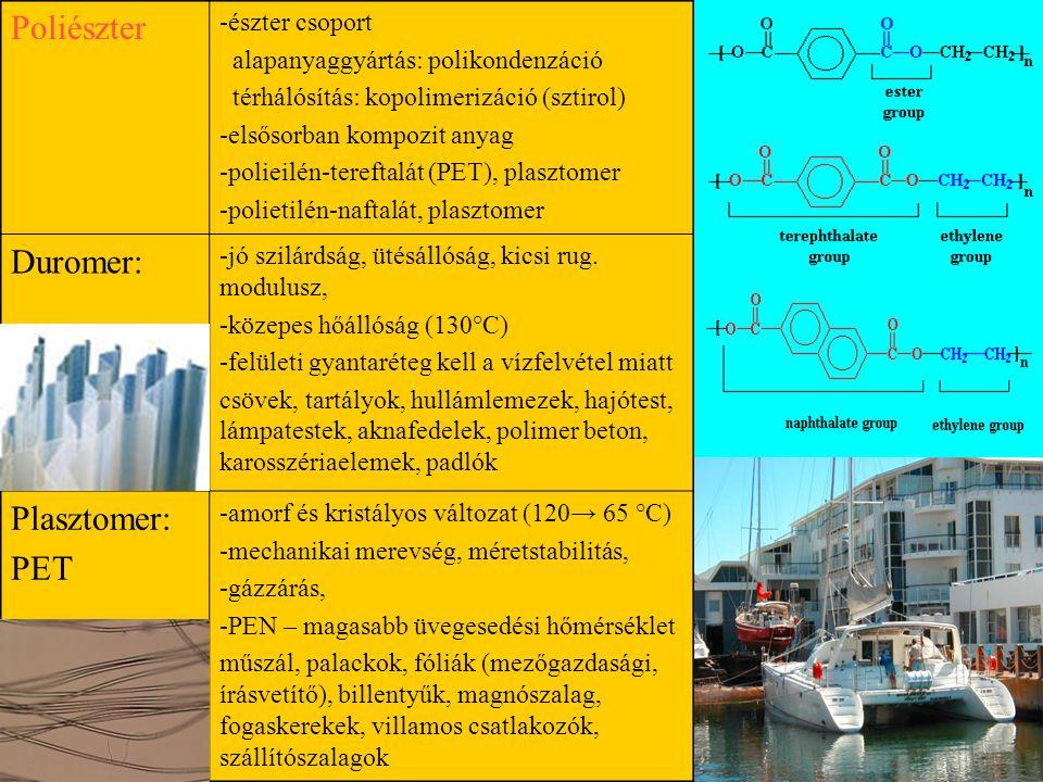 Poliészter Duromer: Plasztomer: PET -észter csoport