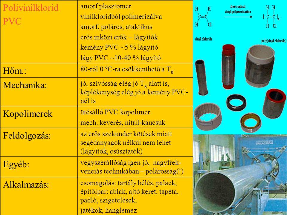 Polivinilklorid PVC Hőm.: Mechanika: Kopolimerek Feldolgozás: Egyéb: