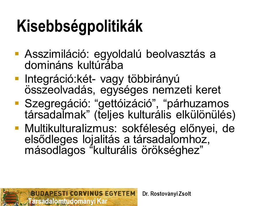 Kisebbségpolitikák Asszimiláció: egyoldalú beolvasztás a domináns kultúrába. Integráció:két- vagy többirányú összeolvadás, egységes nemzeti keret.
