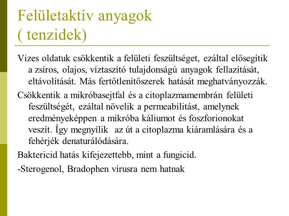 Felületaktív anyagok ( tenzidek)