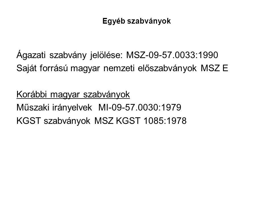 Ágazati szabvány jelölése: MSZ-09-57.0033:1990