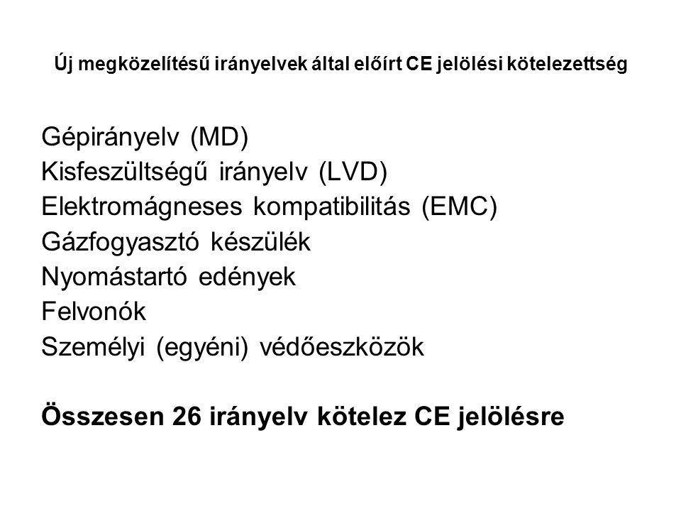 Új megközelítésű irányelvek által előírt CE jelölési kötelezettség