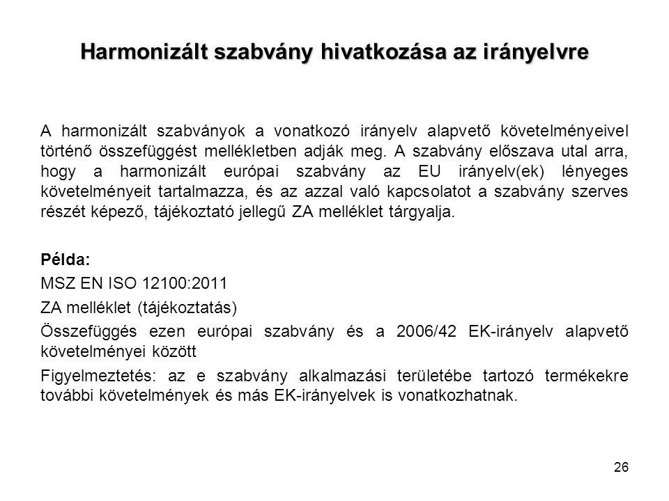 Harmonizált szabvány hivatkozása az irányelvre