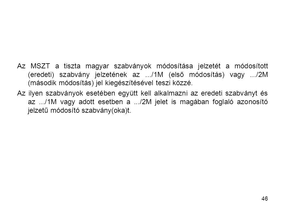 Az MSZT a tiszta magyar szabványok módosítása jelzetét a módosított (eredeti) szabvány jelzetének az .../1M (első módosítás) vagy .../2M (második módosítás) jel kiegészítésével teszi közzé.
