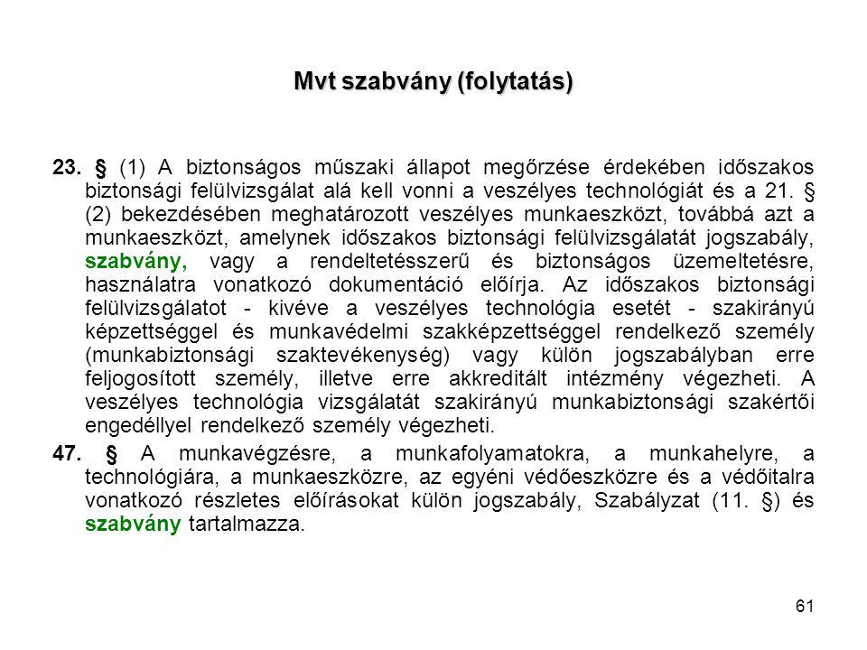 Mvt szabvány (folytatás)