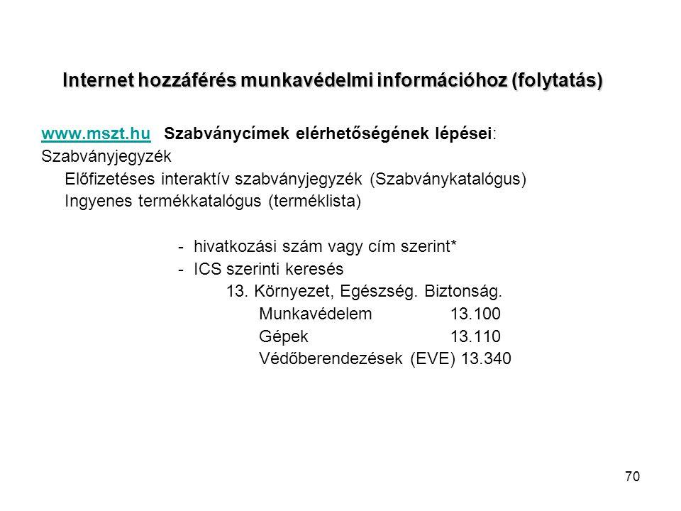 Internet hozzáférés munkavédelmi információhoz (folytatás)