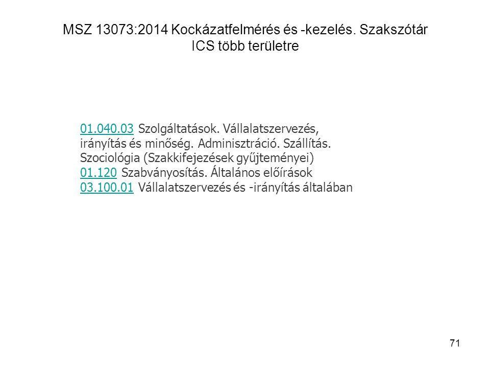 MSZ 13073:2014 Kockázatfelmérés és -kezelés