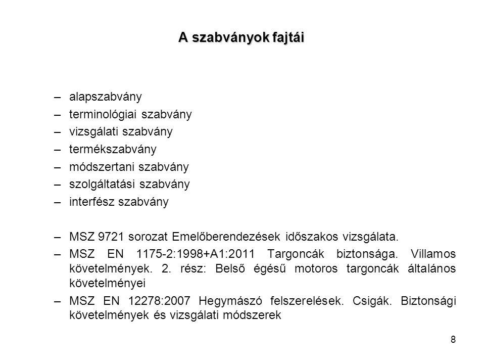 A szabványok fajtái alapszabvány terminológiai szabvány